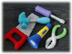 Felt Tools pattern Set - Hammer, Screwdriver, Wrench, Saw, Torch Light  (Felt Patterns and Instructions via Email