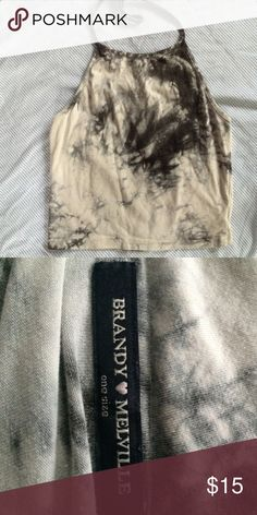 Brandy Melville tie dye halter top Perfect condition/black and white tie die Brandy Melville Tops Tank Tops
