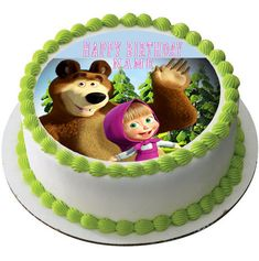 Masha and the Bear 1 Edible Birthday Cake Topper OR Cupcake Topper, Decor - Edible Prints On Cake (Edible Cake &Cupcake Topper) Edible Cake Toppers, Birthday Cake Toppers, Cupcake Toppers, Masha Cake, Torta Minnie Mouse, Marsha And The Bear, Bear Cupcakes, Edible Printing, Bear Party