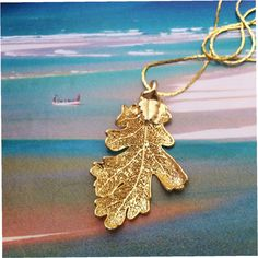 SALE Real Leaves Jewelry Real Oak Leaf Gold Dipped by WoodSmith $9.50
