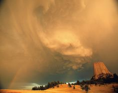 A storm at Devil's Tower, Wyoming