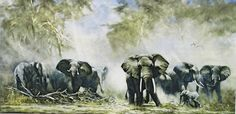 Large color print of elephants by noted wildlife artist David Shepherd, approx. Wildlife Paintings, Wildlife Art, Animal Paintings, Elephant Family Tattoo, Elephant Art, Elephant Drawings, Painted Indian Elephant, African Artwork, Watercolor Animals