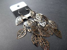 Leaf earrings for pierced ears   leaf design in black and silver organza bag #DropDangle