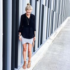 Outfit Inspiration: Witchery black shirt, Witchery grey knit skirt and tan lace up sandals. Follow @jayde_archives on Instagram.