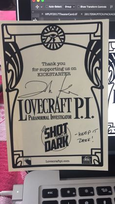 """Thank you to all our Kickstarter backers! """"Lovecraft P. A Shot in the Dark"""" is complete! Books are being sent out as I type~ DW"""
