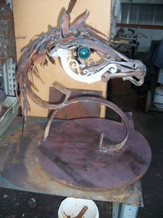 """METAL HORSE titled """" Little Blue Eye """" by mark Olmstead of Post Falls Idaho  $1200.00"""