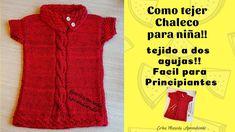 Como tejer Chaleco para niña, tejido a dos agujas, facil para principiantes Knitting Designs, Erika, Youtube, Sweaters, Dresses, Salvador, Crochet Baby, 1, Fashion