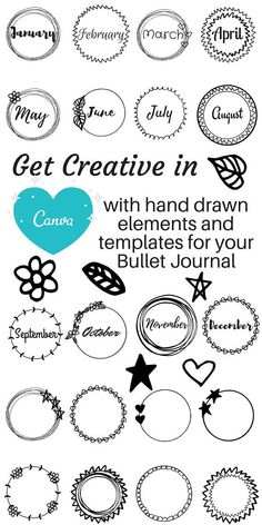 #etsyshopping  Hand drawn wreaths clip art for bullet journal cover pages and