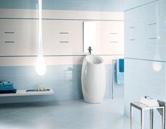 Carrelage design en bleu et blanc