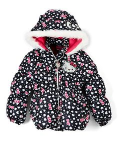 On chilly days, wrap your little one up in this thick puffer coat that boasts a Hello Kitty logo and a cozy faux fur trim. Hello Kitty Clothes, Favorite Cartoon Character, Warm Coat, Fur Trim, Sanrio, Big Kids, Little Girls, Long Sleeve Shirts, Black Bows