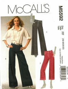 McCall's M5592 Pattern uncut 16 18 20 22 Flared Leg Jeans Pants in two lengths