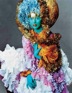 Karen Elson wearing John Galliano, Photographed by Steven Meisel, Vogue, September 2003. Makeup by Pat McGrath.