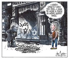 This political cartoon takes aim at Republican Representative Marjorie Taylor Greene, who compared public health measures taken to slow the spread of COVID-19 with the Holocaust. Artist: Michael de Adder / The Washington Post Funny Political Cartoons, Political Quotes, Funny Politics, Political Satire, Latest Cartoons, Double Down, Political Spectrum, Religion And Politics, News Source
