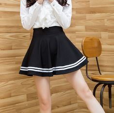 Lovely students skirts SE8212 – SANRENSE Navy Skirt, Fabric Material, Cheer Skirts, Size Chart, Students, Color, Black, Fashion, Colour