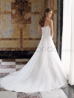 Satin Softly Curved Strapless A-line Wedding Dress
