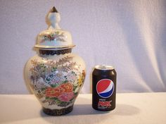 Vintage Ginger Jar Japanese Kaneyama Kiln Crackle Glaze Flowers Floral JAPAN
