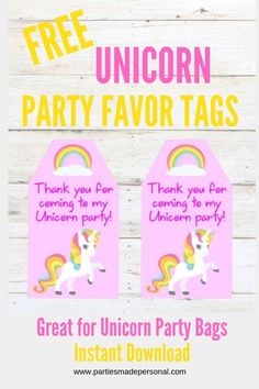 Unicorn Thank You Tags - Free Printable. These DIY Unicorn Party printables are available to instant download for your unicorn party favors. The unicorn favor tags would work with a party bag or simplyt tie around a unicorn headband as a thank you take home gift. #partiesmadepersonal #unicornparty #partyfavors #unicornprintables