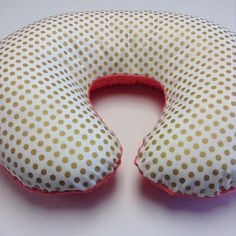 Gold dots boppy cover, coral minky boppy pillowcase, gold and coral nursery bedding