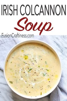 Irish Colcannon Soup is a hearty version of a classic Irish recipe. Made with potatoes, cabbage, onions, cream and butter, this piping hot soup will keep your insides warm and your spirits high this Winter. Scottish Recipes, Irish Recipes, Irish Meals, Irish Desserts, Asian Desserts, Baileys Recipes, Cabbage Recipes, Chili Recipes, Cream Of Cabbage Soup Recipe