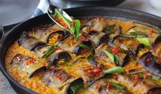 Ottolenghi Stuffed Aubergines in Curry & Coconut Dal | FLAVOUR 2020 Eggplant Rolls, Roast Eggplant, Grilled Eggplant, Curry Recipes, Vegetarian Recipes, Dal Recipe, Coconut Sauce, Extra Firm Tofu, Ottolenghi