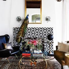 Awesomely eclectic styled fireplace