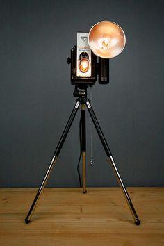 With an Edison light bulb :O