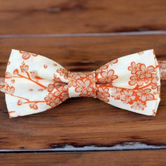 Boys Bow Tie  tan orange cream cherry blossoms by becauseimme