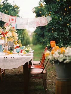 Hang old, embroidered hankies from a clothes line to create bunting effect.