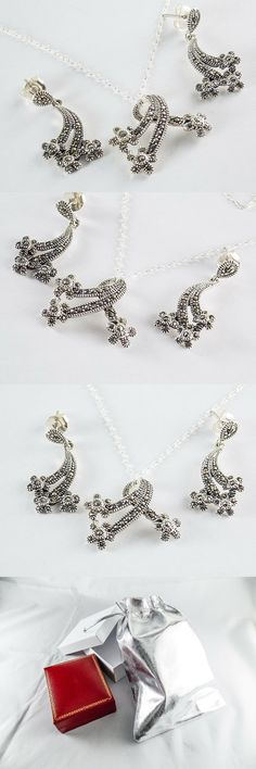 2ca84506c Other Fine Jewelry Sets 164328: Marcasite Necklace And Earring Set In 925  Sterling Silver 18