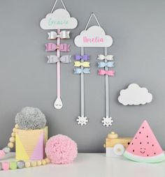 Hair Bow Hanger COLOURFUL - Personalised Cloud Hair Bow Holder