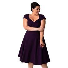 4f6931ef80 Lato kobiety casual dress plus rozmiar elegancki vintage stałe fioletowy  czarny kolan wieczór sukienek(China
