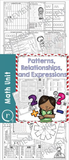 A full unit on patterns, relationships, and expressions. There is a fun interactive vocabulary practice, worksheets, task cards, tables, and answer keys.  There are two activities that have self check QR codes with the answer embedded (no need for an internet connection!). Rhoda Design Studio