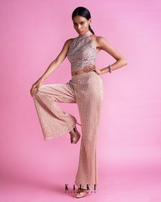 Peach Straight Pant In Sequin Fabric With A Halter Neck Embroidered Crop Top Online - Kalki Fashion Salmon Pants, Crop Tops Online, Pink Lehenga, Sequin Fabric, Pink Outfits, Halter Neck, Fashion Pants, Pink Dress, Sequins
