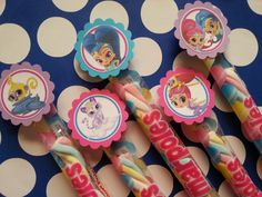 Shimmer and shine marshmallow party favors, also available Minions, sofia the first, monsters inc, lalaloopsy, Henry hugglemonster by bellecaps on Etsy