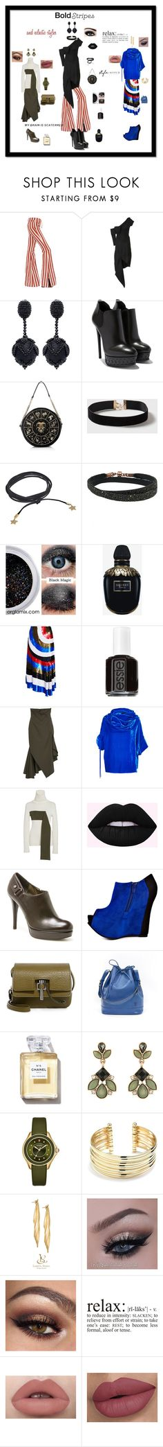 """bold stripes and eclectic styles"" by giagiagia ❤ liked on Polyvore featuring Roberto Cavalli, Monse, Oscar de la Renta, Dorothy Perkins, Rebecca Minkoff, Alexander McQueen, Max Factor, Essie, Stuart Weitzman and Luichiny"