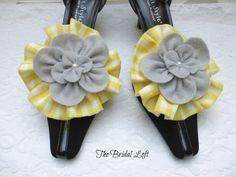 Yellow Gingham Shoe Clips, Yellow and Gray Shoe Clips, Grey and Yellow Wedding, Matching items available! Handmade by Bridal Loft on Etsy