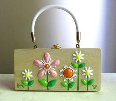 Vintage Enid Collins Flora Wood Handbag by theuniquebird on Etsy