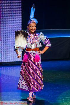 "Urban Native Girl: THE BEST International ""Costume"" was Chayla Delorme Maracle - Miss World Canada 2013 Delegate's jingle dress OBVI. Miss World Canada 2013 Photo by Kuna Lu | Amoris Wedding | Kuna Photography Group © Miss World Canada 2013."