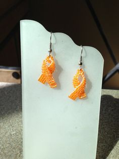 Orange Kidney Or Leukemia Cancer Ribbon Awareness Seed Beaded Earrings on Etsy, $15.00