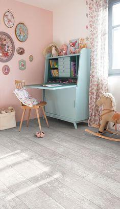 "Quick-Step Essential V4 (ESC016) ""Painted oak light white, planks"" Livyn Floors www.quick-step.com kids room decor, kids bedroom, colorful kids room, playroom, scandinavian, kids room ideas, modern, gender neutral, paint, simple, colors, interior, playrooms, space, furniture, walls, wall art, colorful, childrens, wood, bedding, playroom, natural wooden furniture, blue, desk, #kidsroom"