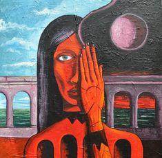 Nyx y Emera #dipinto surrealista su #tela, #Giorno e #Notte sono parti insite nell'animo umano..