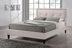 Baxton Studio Marquesa Wood Contemporary Queen-Size Bed, Beige & Tan