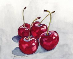 Cherry Watercolor Painting Four Red Cherries no 2 by jojolarue, $18.00