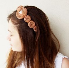 Brown Fabric Roses Bridal Hair Band by BizimFlowers on Etsy
