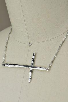 Hammered Texture Sideways Cross Necklace by Jondie.com