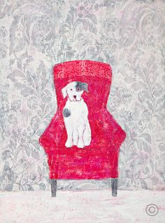 "Annora Spence ""On a Red Chair"" Pretty Art, Cute Art, Best Friends Pets, Dog Artwork, Bohemian Art, Dog Illustration, Minimalist Art, Art Portfolio, Whimsical Art"