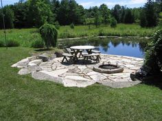 large pond landscaping ideas - I want a patio like this by our pond, only with a pergola as well. Backyard Water Feature, Large Backyard, Ponds Backyard, Fire Pit Backyard, Backyard Ideas, Pond Ideas, Patio Pond, Patio Ideas, Garden Ideas