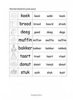Dit taal werkblad en nog veel meer in het thema bakker kun je downloaden op de website van Juf Milou. Afrikaans Language, Letter V, Preschool Worksheets, Kids Learning, Spelling, Teaching, Muffin, Homework, Homeschooling
