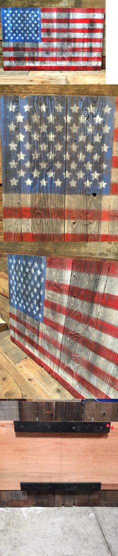 Home Decor: Vintage American Flag Hand-Painted Refurbished Wood 48 X30 4Th Of July -> BUY IT NOW ONLY: $110 on eBay!