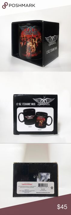 Aerosmith rock & roll mug 12 oz Aerosmith Hard Rock Heavy Metal Roack and Roll Band • 12 oz CERAMIC COFFEE MUG New  • Microwave and Dishwasher safe.  • Live Nation Merchandise  • The box shows some scuffs on it. The mug is new never used.  SOLD OUT IN STORES Aerosmith Other
